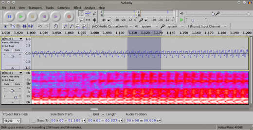 Audacity screenshot from Aaron Wolf
