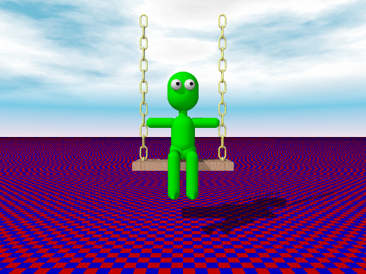 Flying kermit made with POV-Ray