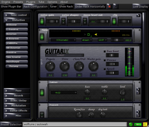 Guitarix screenshot from Aaron Wolf