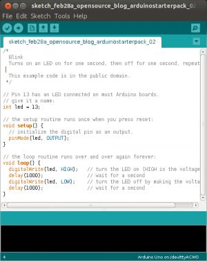 Arduino starter pack - LED blinking code