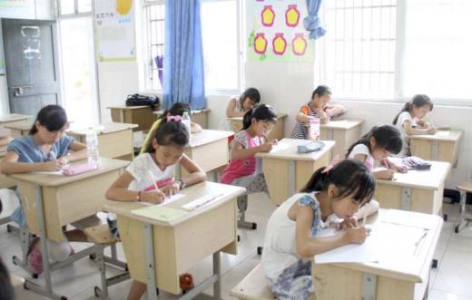 Chinese students at their desks