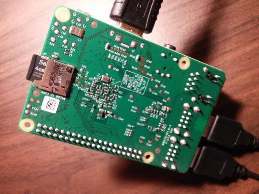 Picture of the back of the Raspberry Pi B+ board showing the microSD card