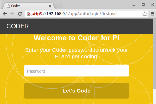 Screenshot of first login page in Coder