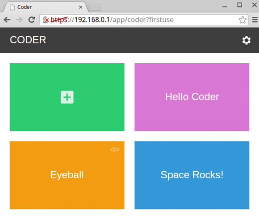 Screenshot of initial projects in Coder
