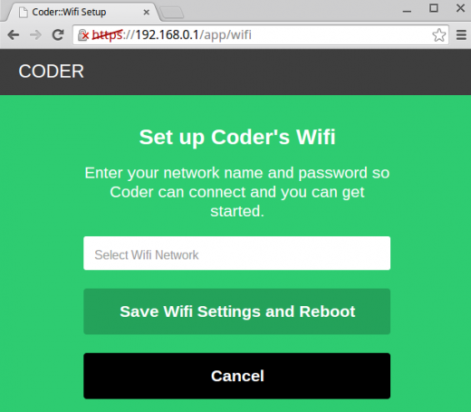 Screenshot of the WiFi configuration page in Coder.