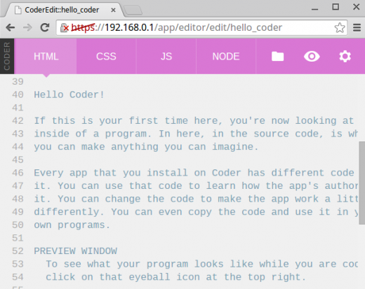 Screenshot of CSS editing page in Coder