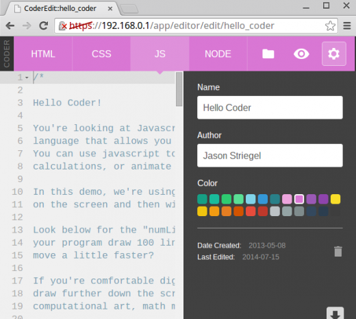 Screenshot of JavaScript editing page in Coder.