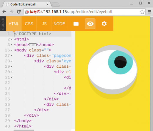 Screenshot of Eyeball project in Coder.