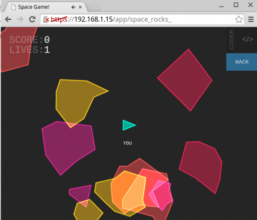 Screenshot of the Space Rocks game in Coder.