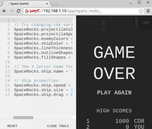 Screenshots of parameters settings in Space Rocks game in Coder.