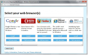 Browser Ballot Screen Submitted to  European Commission in Annex B & C of Microsoft's Proposal