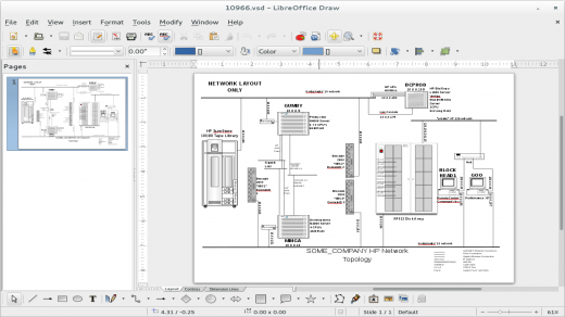 Screenshot of LibreOffice Draw opening up a Visio VSD diagram