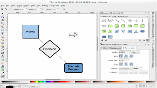 Screenshot of an Inkscape development version