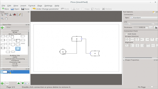 Calligra Flow diagramming tool in Fedora 20