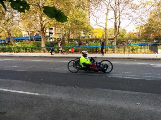 Disabled runner heading the New York city Marathon