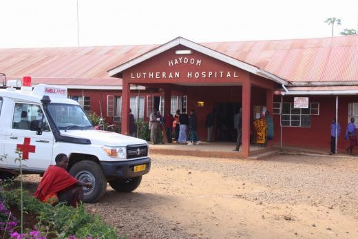 Outside the Haydom Lutheran Hospital in Tanzania