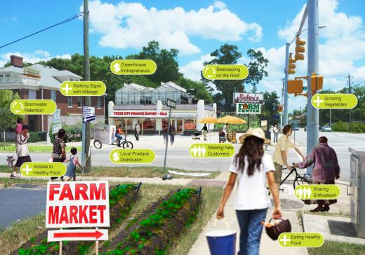 Rueben's Food Market sketch for downtown