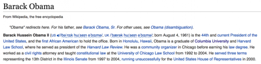 Wikipedia entry for Barak Obama