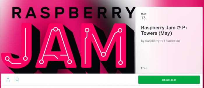 Raspberry Jam Eventbrite invitation