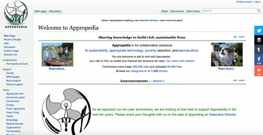 Appropedia.org screenshot of main page