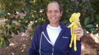 Doug Cutting with his son's stuffed elephant, Hadoop