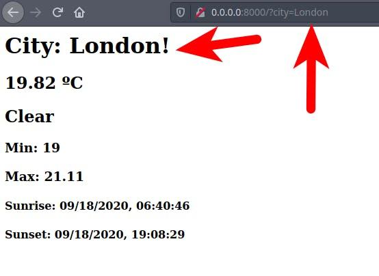 web page displaying London weather