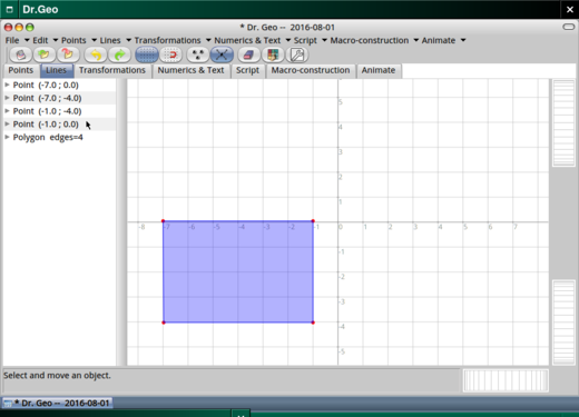 Creating an object in the grid.
