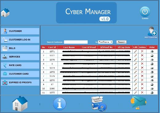 screenshot of Manage Customer view