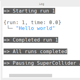 Sonic Pi hello world message