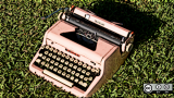 Typewriter in grass