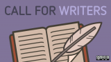 Call for Writers, purple with pen