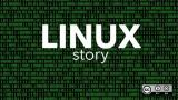 Linux Story text with binary code background