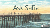 Ask Safia postcard of a pier and water