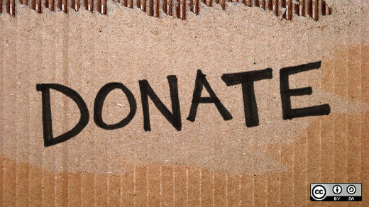 Donate written on a box
