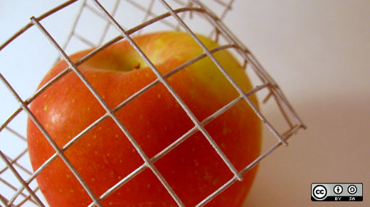 An apple wrapped in fencing