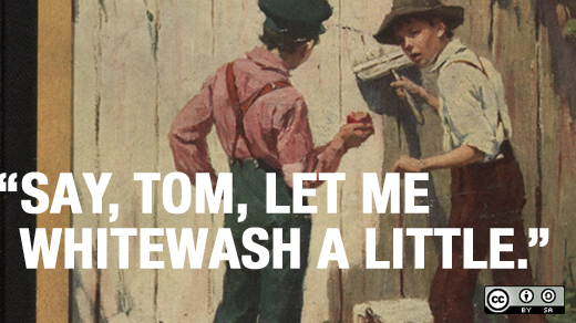 Tom Sawyer whitewashing a fence.
