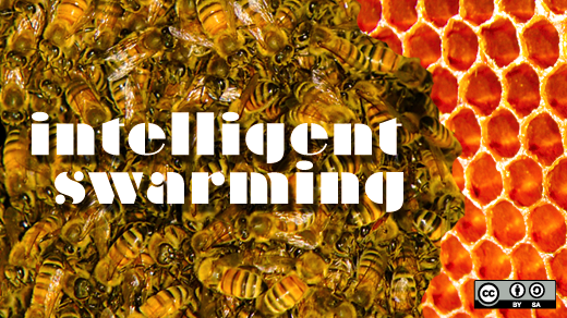 bees in a hive with words intelligent swarming over them