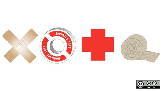 medical symbols and bandages