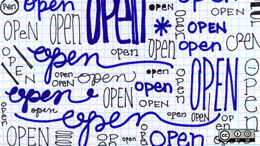 Doodles of the word open
