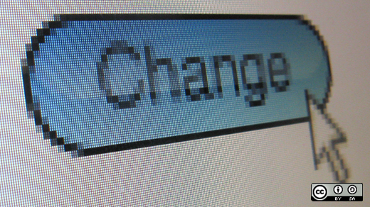 An arrow clicking a change button