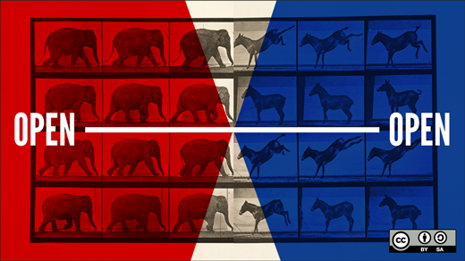 open elections illlustration with elephants and donkeys