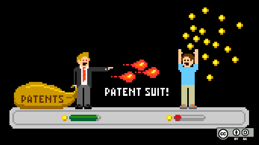 8-bit patent suit illustration