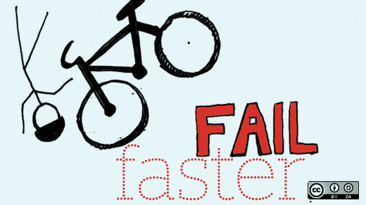 A bike rider failing very fast