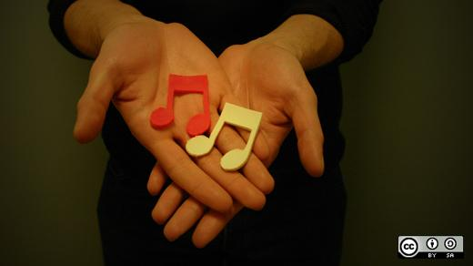Two hands holding musical notes