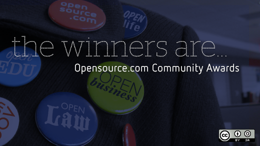 Opensource.com community awards with buttons in the background