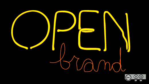 open neon sign with word brand under it