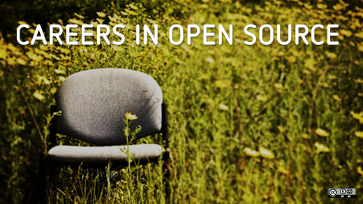 Careers in open source, desk chair in a field