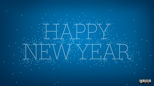 happy new year on blue background
