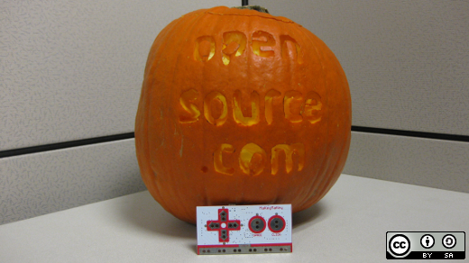 Pumpkin carved with Opensource.com logo