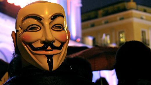 anonymous mask in a crowd